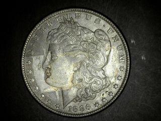 1886 No Mark Morgan Silver Dollar