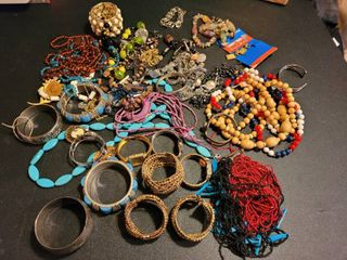 large lot of vintage bracelets and necklaces