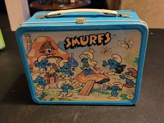 Vintage Smurfs lunch box with canteen