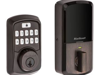 Kwikset 99420 002 Aura Bluetooth Programmable Keypad Door lock Deadbolt Featuring SmartKey Security  Venetian Bronze