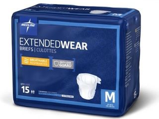 Medline   MTB80300Z Extended Wear Overnight Adult Briefs with Tabs  Maximum Highest Absorbency Adult Diapers  Medium  15 Count