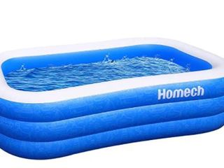 Homech Inflatable Swimming Pools  Inflatable Kiddie Pools  Family Swimming Pool  Swim Center for Kids  Adults  Babies  Toddlers  Outdoor  Garden  Backyard  95 x 56 x 22 in