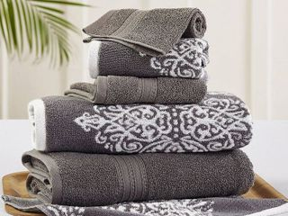 Amrapur Overseas   Artesia Damask 4 Piece Reversible Yarn Dyed Jacquard Towel Set  Platinum