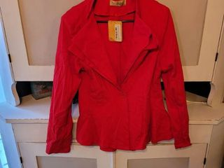 HYBRID  COMPANY WOMEN DOUBlE NOTCH lAPEl RED JACKET SIZE Xl