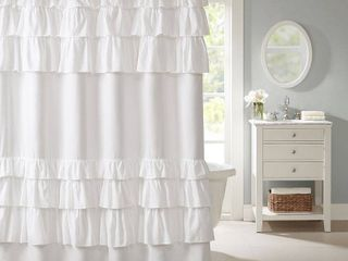 Madison Park Grace White  Solid Cottage Top Shower Curtains for Bathroom  72 X 72  72x72