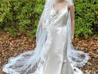 130  long Cathedral Veil with White Trim and Ruffled Edges
