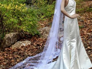 114  long Cathedral Veil with White Trim and Jeweled Floral Details
