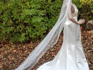 108  long Cathedral Veil with Faint Silver and Jeweled Floral Details