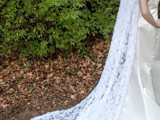 114  long Cathedral Veil  lace Pattern Throughout  Very Heavyweight with 4  Headpiece