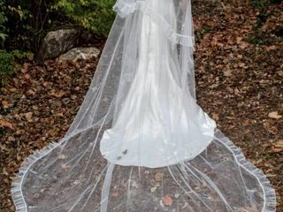 118  long layered Cathedral Veil White with Hand Stitched Jeweled Designs and Ribbed Edging Around Entire Veil