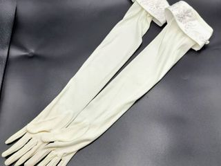 Elbow length 22  long White Bridal Gloves with Embroidery Detail