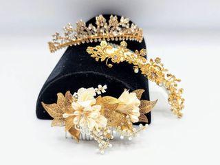 3 Gold  Pearl   Rhinestone Bridal Combs Hairpieces