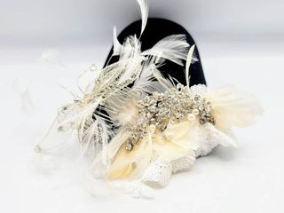 2 White  Silver  Rhinestone and Feathers Bridal Combs Hairpieces