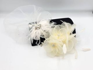2 Ivory  Rhinestone and Feathers Bridal Combs Hairpieces