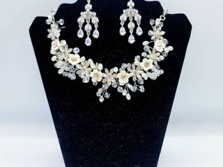 Crystal and Pearl Detail Necklace with a Pair of Crystal Dangle Earrings