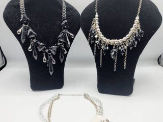 3 Black  Silver and Rhinestone Statement Necklaces   Brands VClM and Venture