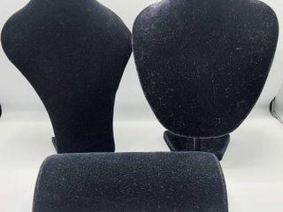 3 Black Velvet Feel Jewelry Displays