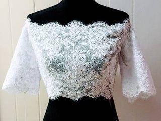 Jordan Fashions Size 8 White Off the Shoulder Bridal Wedding Jacket Bolero Top