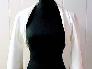 Mikaella Size 10 White Wedding Bridal Jacket Bolero
