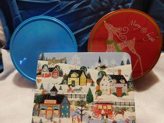 Plastic   Tin Holiday Containers
