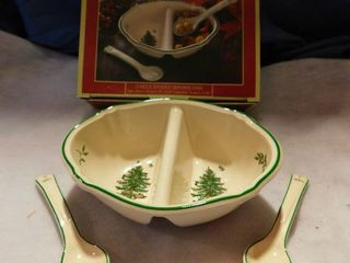 Spode Christmas Tree Divided Dish with Ceramic Spoons