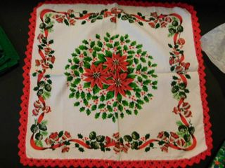 Holiday linens with Poinsetta Placemats
