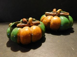 2 Ceramic Pumpkins