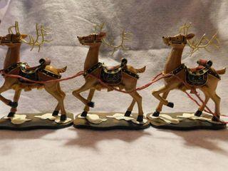 Set of 3 Teathered Ceramic Reindeer