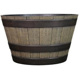 Brown Faux Barrel Planter x2