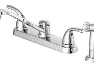 Project Source Chrome 2 handle low arc Kitchen Faucet   Side Sprayer