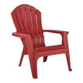 Three Red Resin Stackable Adirondack Chairs