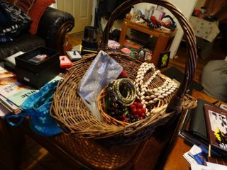 Wicker Basket of Costume Jewelry and led Flip lights