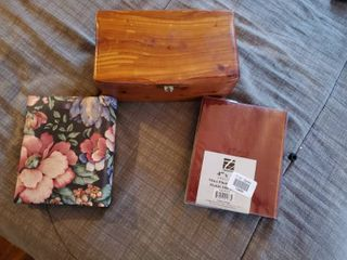 Small Wooden Box with 2 Mini Photo Albums