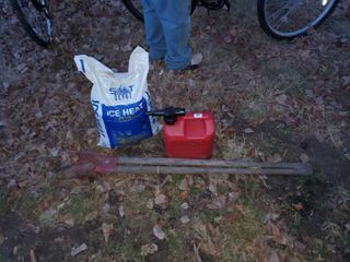 lot of Ice Melt  Post Hole Digger and Gas Can