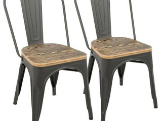 Set of 2 Oregon Industrial Farmhouse Stackable Dining Chair Brown   lumiSource