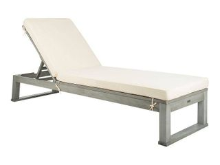 Safavieh Outdoor living Solano Sunlounger  Grey   White   24 8  x 80 9  x 37 4  Retail 362 49