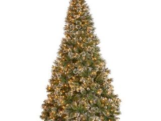 7 5 ft Spruce Pre lit or Unlit Artificial Christmas Tree with Snow Glitter Branches Frosted Pinecones by Christopher Knight Home  Retail 291 99