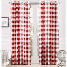 DriftAway Buffalo Checker Pattern lined Blackout Grommet Window Curtains Printed Plaid 2 layer Set of 2 Panels 52 Inch by 84 Inch Red