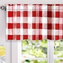 set of 3 DriftAway Valance plaid checker 52 x 18 with 2  header