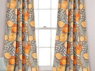 Set of 2 84 x52  Poppy Garden Room Darkening Window Curtain Panels Yellow Gray   lush Decor