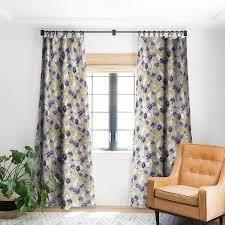 set of 4 Schatzi Brown Justina Floral Tan Blackout Curtain Panel