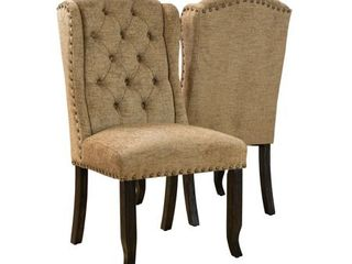 Furniture of America Tays Rustic linen Fabric Dining Chairs  Set of 2    Retail 403 00