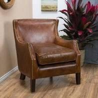 Carbon loft linden Vintage Brown leather Club Chair  Retail 794 99