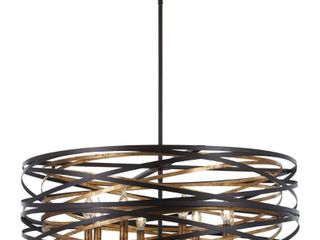 Minka lavery Vortic Flow 8 light Dark Bronze W Mosaic Gold Inte Pendant  Retail 644 95