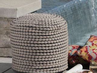 Conney Outdoor Handcrafted Modern Water Resistant Fabric Cylinder Pouf Ottoman by Christopher Knight Home  Retail 103 99