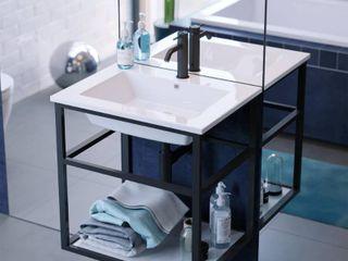Swiss Madison SM BV552 Pierre 24  Single  Metal Frame  Open Shelf  Bathroom Vanity  Retail 344 49
