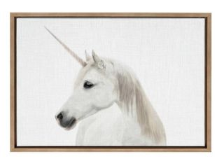 Kate and laurel Sylvie Unicorn Framed Canvas by Simon Te Tai   Gold