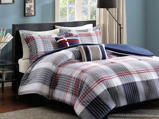 Blue   Red Plaid Carson Multiple Piece Comforter Set  Full Queen