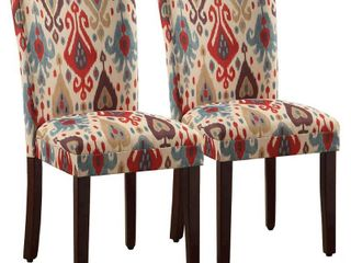 Set of 2 Parsons Pattern Dining Chair Wood Ikat   HomePop