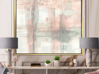 Designart  Intersect II Grey  Pink Modern Framed Canvas   Grey  Retail 195 99